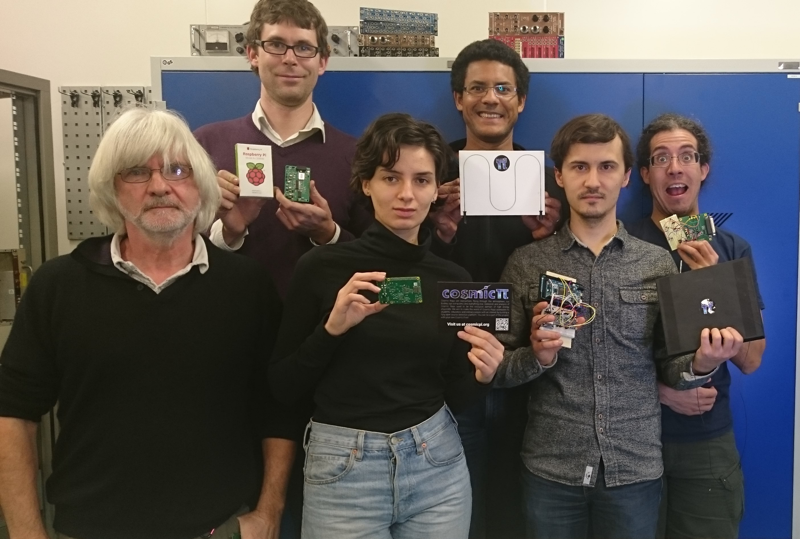 The team holding a dismantled CosmicPi, Julian is first on left.