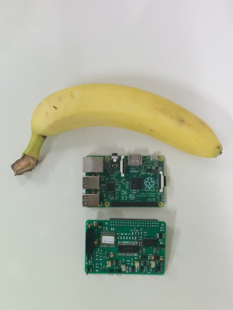 Cosmic Pi HAT, Raspberry Pi and a banana.