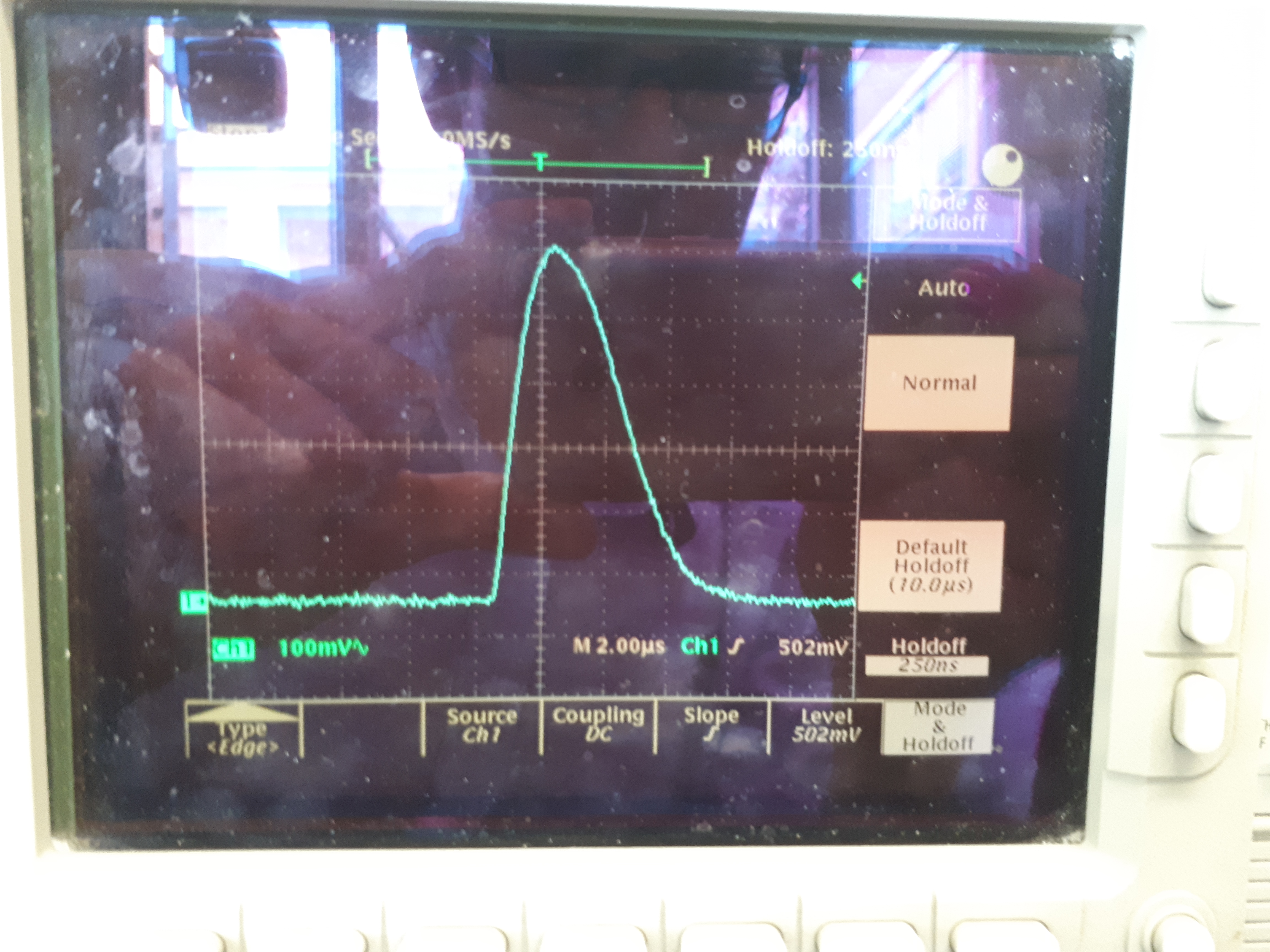 A signal pulse from a single SiPM